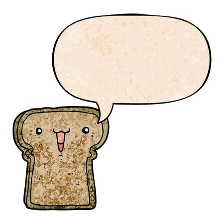 cute cartoon toast with speech bubble in retro texture style