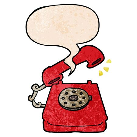 cartoon ringing telephone with speech bubble in retro texture style