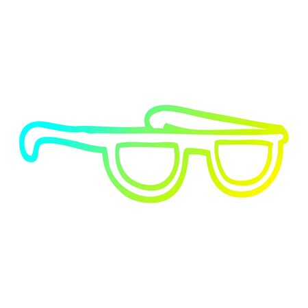 cold gradient line drawing of a cartoon sunglasses