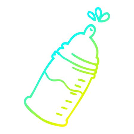 cold gradient line drawing of a cartoon baby bottle