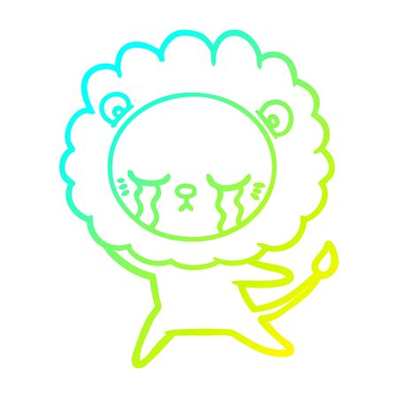 cold gradient line drawing of a crying cartoon lion  イラスト・ベクター素材