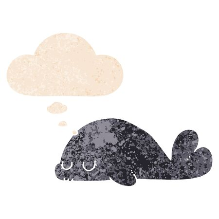 cute cartoon seal with thought bubble in grunge distressed retro textured style