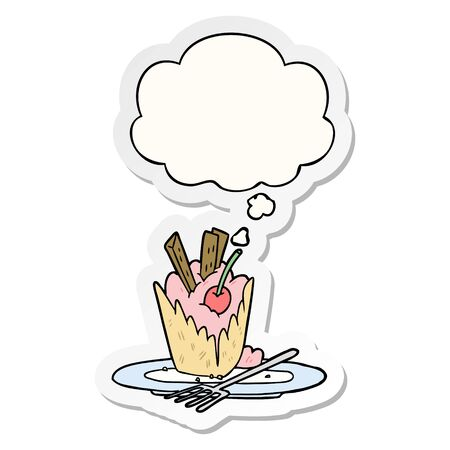 cartoon dessert with thought bubble as a printed sticker