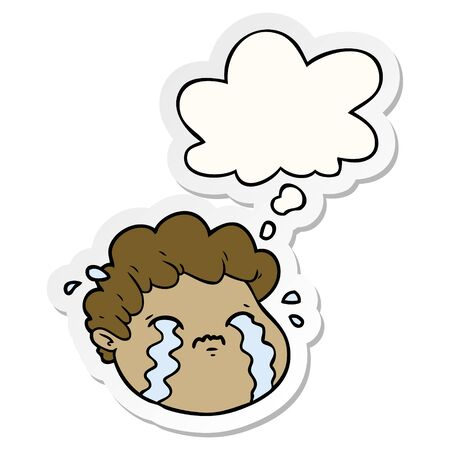 cartoon crying boy with thought bubble as a printed sticker