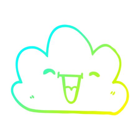 cold gradient line drawing of a cartoon happy grey cloud