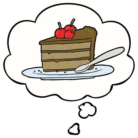 cartoon chocolate cake with thought bubble Ilustração