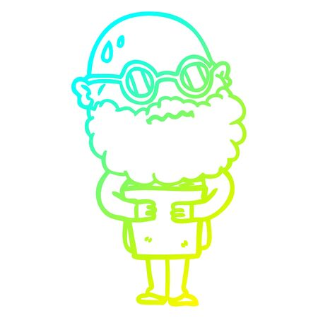 cold gradient line drawing of a cartoon worried man with beard and spectacles