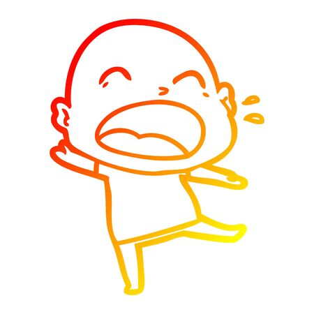 warm gradient line drawing of a cartoon shouting bald man 일러스트