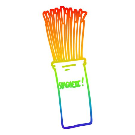 rainbow gradient line drawing of a cartoon  jar of spaghetti Illusztráció