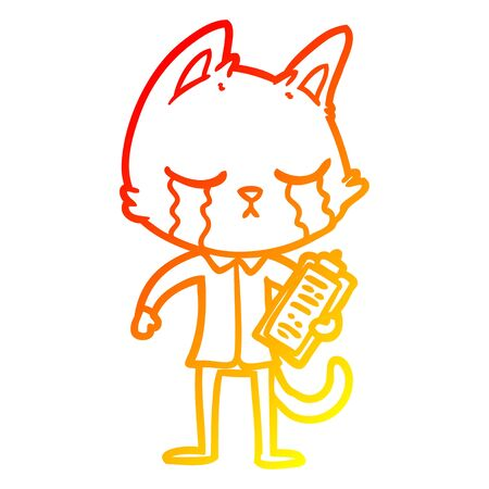 warm gradient line drawing of a crying cartoon business cat  イラスト・ベクター素材