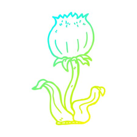 cold gradient line drawing of a cartoon wild flower