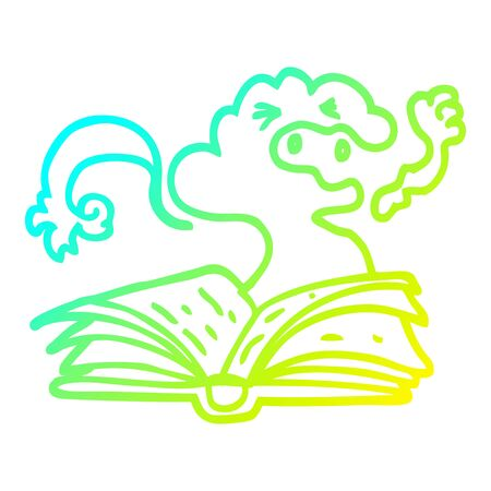 cold gradient line drawing of a cartoon spell book 向量圖像