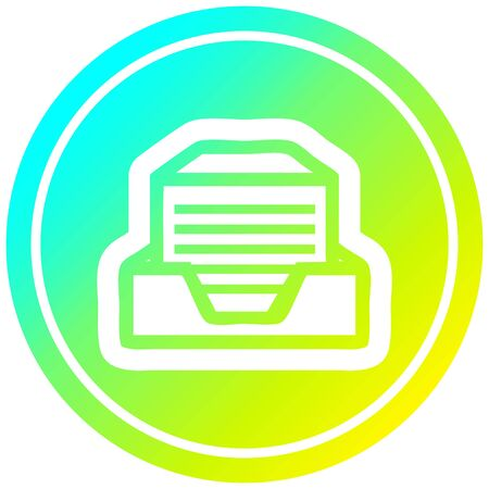 office paper stack circular icon with cool gradient finish Illustration