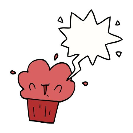 cartoon cupcake with speech bubble