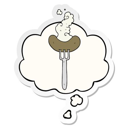 cartoon sausage on fork with thought bubble as a printed sticker