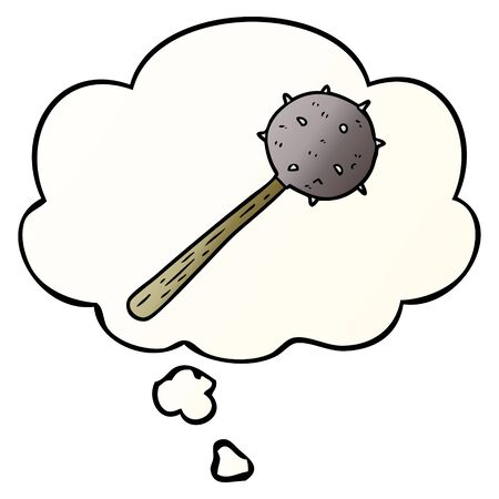 cartoon mace with thought bubble in smooth gradient style