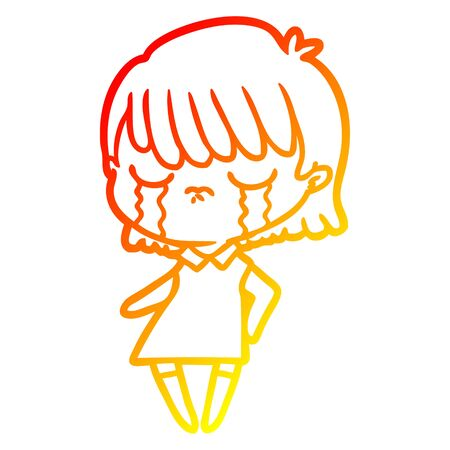 warm gradient line drawing of a cartoon woman crying Foto de archivo - 129942456
