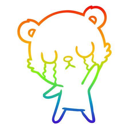 rainbow gradient line drawing of a crying cartoon bear waving  イラスト・ベクター素材