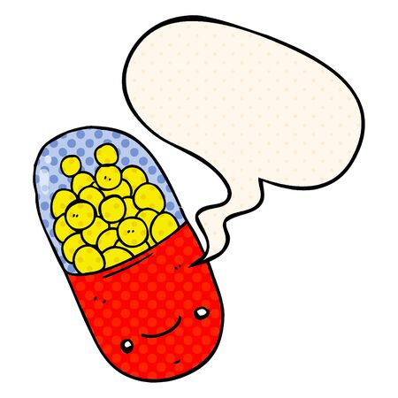 cartoon pill with speech bubble in comic book style Ilustracja