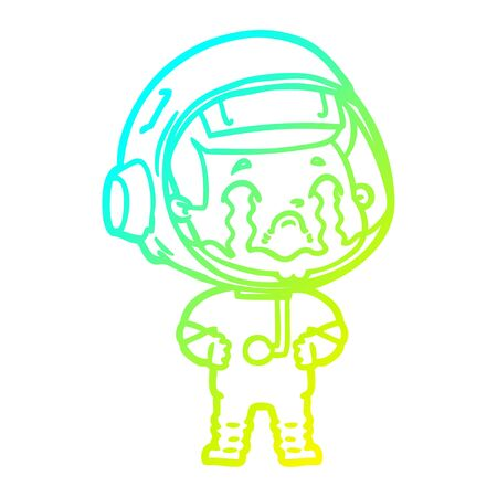 cold gradient line drawing of a cartoon crying astronaut