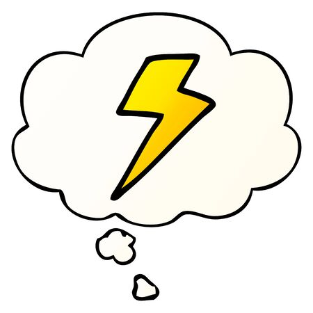 cartoon lightning bolt with thought bubble in smooth gradient style  イラスト・ベクター素材