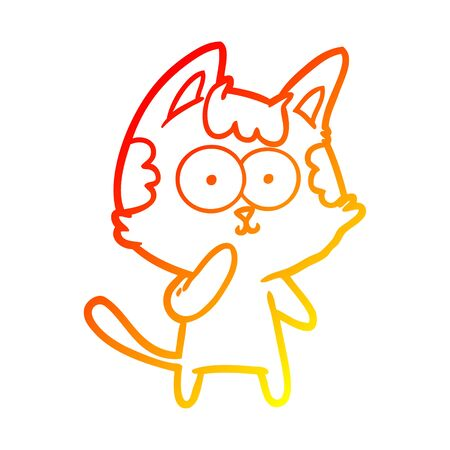 warm gradient line drawing of a cartoon cat considering Иллюстрация