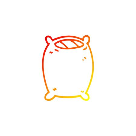 warm gradient line drawing of a cartoon bedtime pillow 向量圖像