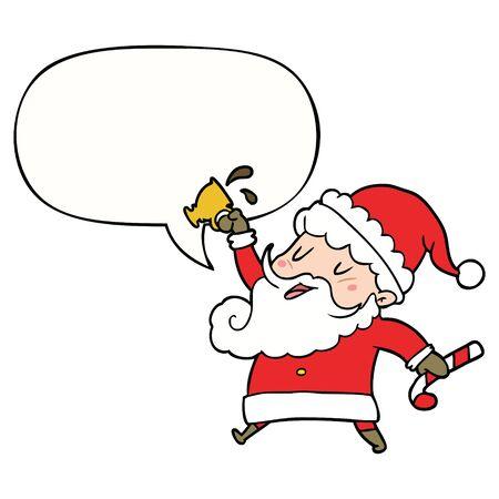 cartoon santa claus with hot cocoa with speech bubble