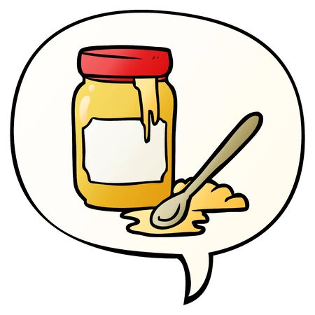 cartoon jar of honey with speech bubble in smooth gradient style  イラスト・ベクター素材