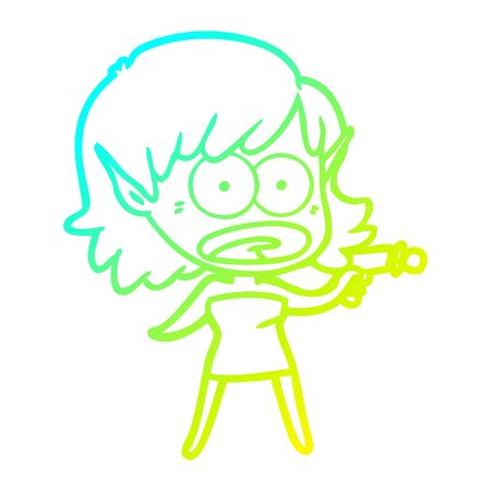 cold gradient line drawing of a cartoon shocked alien girl with ray gun