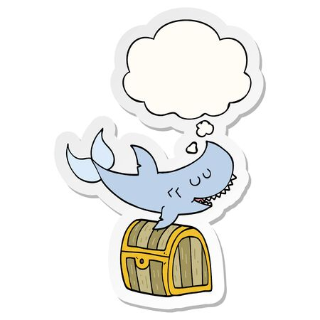 cartoon shark swimming over treasure chest with thought bubble as a printed sticker Illustration
