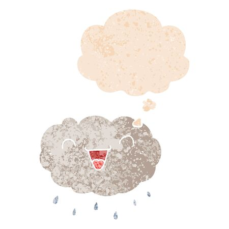 happy cartoon cloud with thought bubble in grunge distressed retro textured style Ilustração