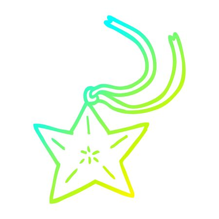 cold gradient line drawing of a cartoon star necklace