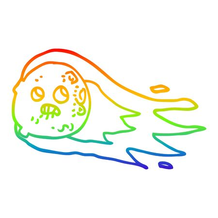 rainbow gradient line drawing of a cartoon worried comet 向量圖像
