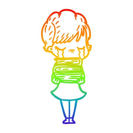 rainbow gradient line drawing of a cartoon woman crying Foto de archivo - 129942399