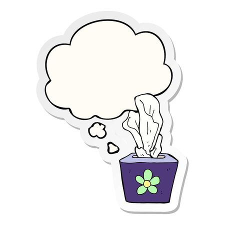 cartoon box of tissues with thought bubble as a printed sticker Çizim