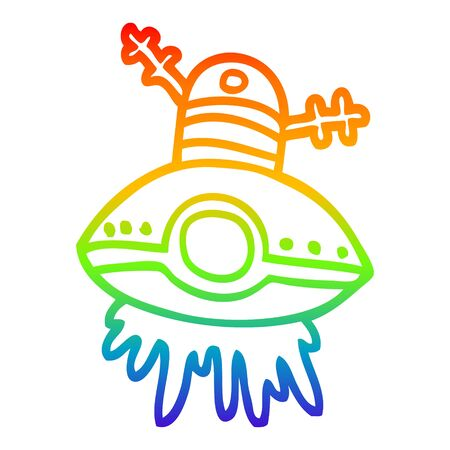 rainbow gradient line drawing of a cartoon alien spaceship