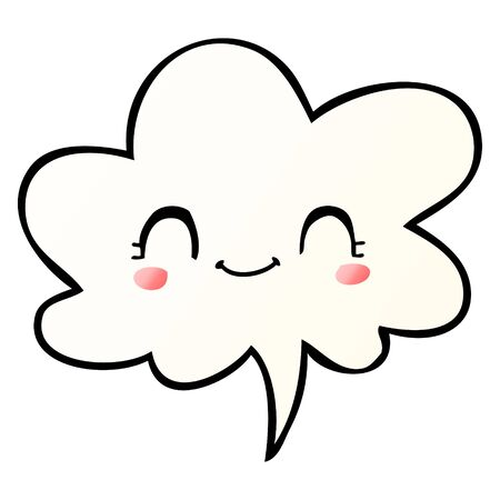cute cartoon face with speech bubble in smooth gradient style