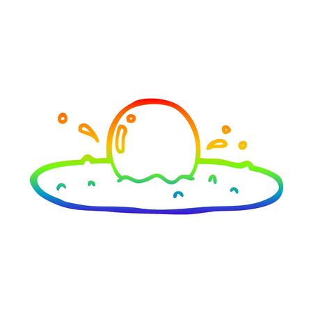rainbow gradient line drawing of a cartoon fried egg Stockfoto - 129942651