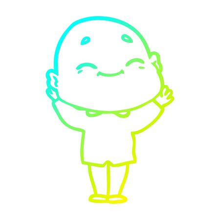 cold gradient line drawing of a cartoon happy bald man