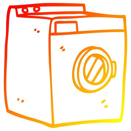 warm gradient line drawing of a cartoon washing machine