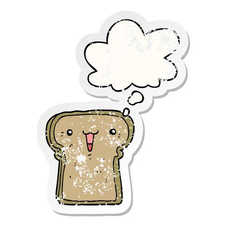 cute cartoon toast with thought bubble as a distressed worn sticker 写真素材 - 129942459