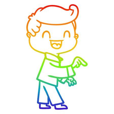Regenbogen-Gradienten-Linienzeichnung eines glücklichen Mannes der Karikatur, der zeigt
