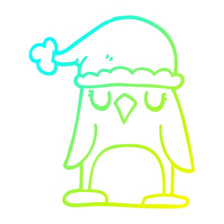 Christmas Hat Drawing.Cold Gradient Line Drawing Of A Cartoon Penguin Wearing Christmas
