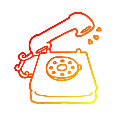 warm gradient line drawing of a cartoon old telephone