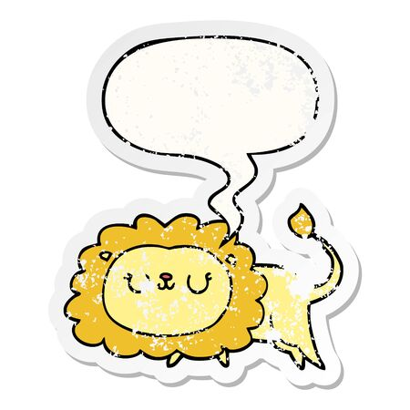 cartoon lion with speech bubble distressed distressed old sticker