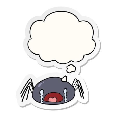 cartoon crying spider with thought bubble as a printed sticker