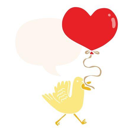 cartoon bird with heart balloon with speech bubble in retro style Illusztráció
