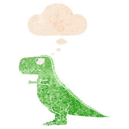 dinosauro cartone animato con bolla di pensiero in stile retrò strutturato afflitto grunge