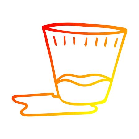 warm gradient line drawing of a cartoon spilt drink